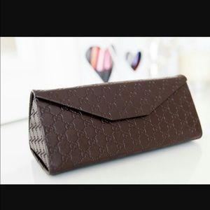 Gucci sunglass case monogram triangular brown